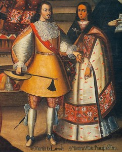 Retrato de Beatriz Clara Coya y su esposo, Martín García Óñez de Loyola. Iglesia de la Compañía de Jesús, Cuzco. El gobernador don Martín García Óñez de Loyola, fue el segundo gobernador de Chile capturado y ejecutado en un alzamiento general en el solsticio del verano austral ocurrido en 1598. En 1553 el gobernador Pedro de Valdivia había corrido la misma suerte.
