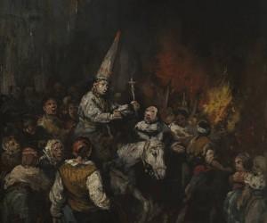 Hombre condenado por la Inquisición.Obra de Eugenio Lucas Velázquez (ca. 1860), inspirado por los grabados de Goya, ilustran la pena de salir en bestia de alabarda con coroza y soga al cuello.