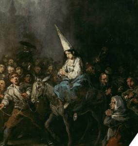Mujer condenada por la Inquisición. Obra de Eugenio Lucas Velázquez (ca. 1860)