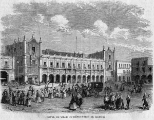 Las casas del ayuntamiento en 1862, por L. Dumont y P.Blanchard