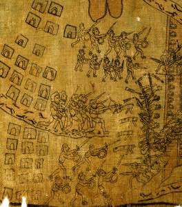 Lienzo de Analco (Detalle). Indios y españoles combatiendo juntos en la conquista de la Sierra Alta de Oaxaca