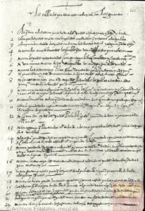 Puntos tratados en el memorial de 1584